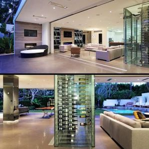 modern wine cellar with indoor outdoor living room